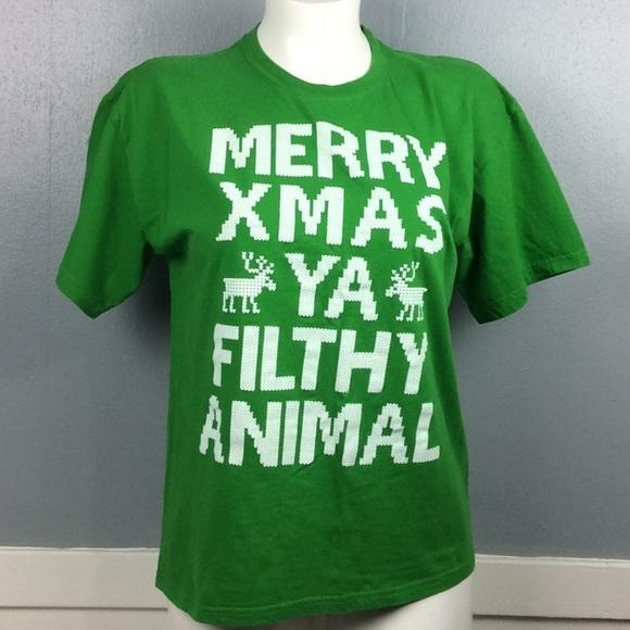 Merry Christmas Ya Filthy Animal Shirt.Mens Merry Christmas Ya Filthy Animal Shirt Sz Xl